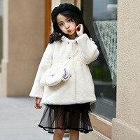 Winter Baby Girls Faux Fur Plush Coats Teenage Children Cloak Cape Cardigan Jackets Kids Cute Ear Hooded Overcoat Outerwear P161