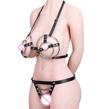 Sex Metal Bra Briefs Leather Rivets Adult SM Sex Bondage For Women Adults Game Toys Novelty Sex Products For SM Games