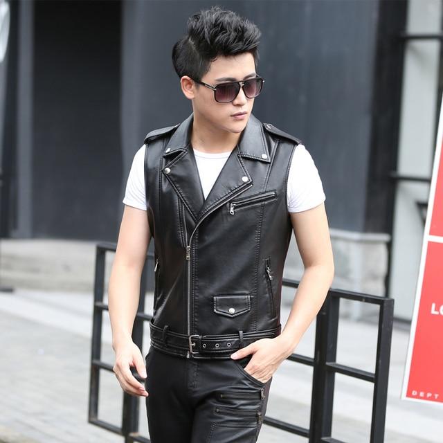 M Xxxl Leather Vest Young Men Winter And Autumn Short Lapel Pu Vest
