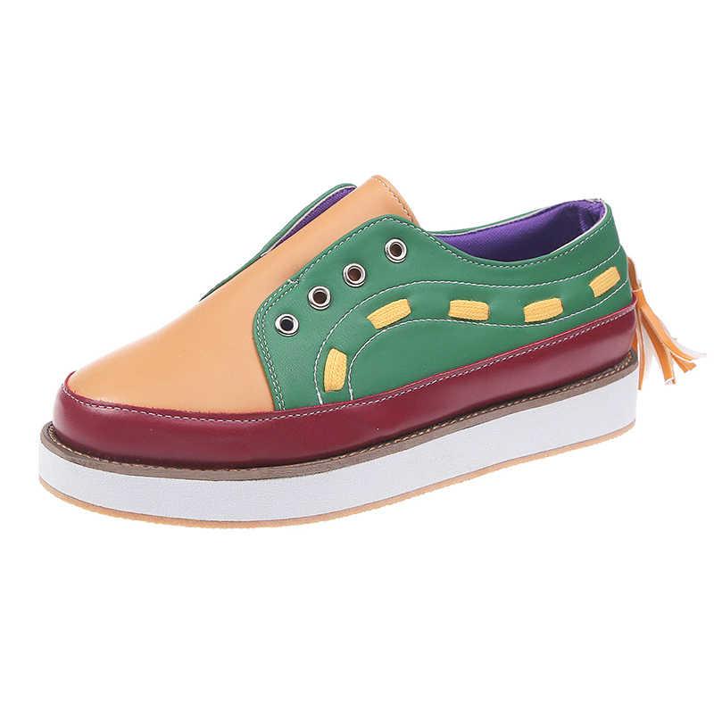 Fujin/лоферы; женская обувь на плоской подошве; женская модная обувь с толстой подошвой; обувь без застежки; Повседневная обувь; Peadal; сезон осень; Новинка; обувь на плоской подошве