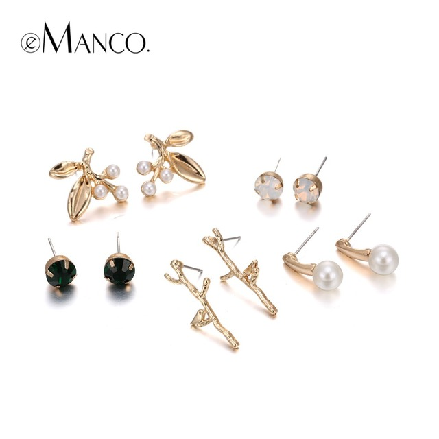 eManco Stylish Unique Design Plant Statement Stud Earring sets for Women Crystal Pearl Gold Plated Accessories Jewelry for 2016
