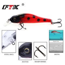 FTK Minnow Bass Fishing Lure Wobblers Sinking professional multicolor quality1pcs 80mm 6g  swimbait Topwater baits