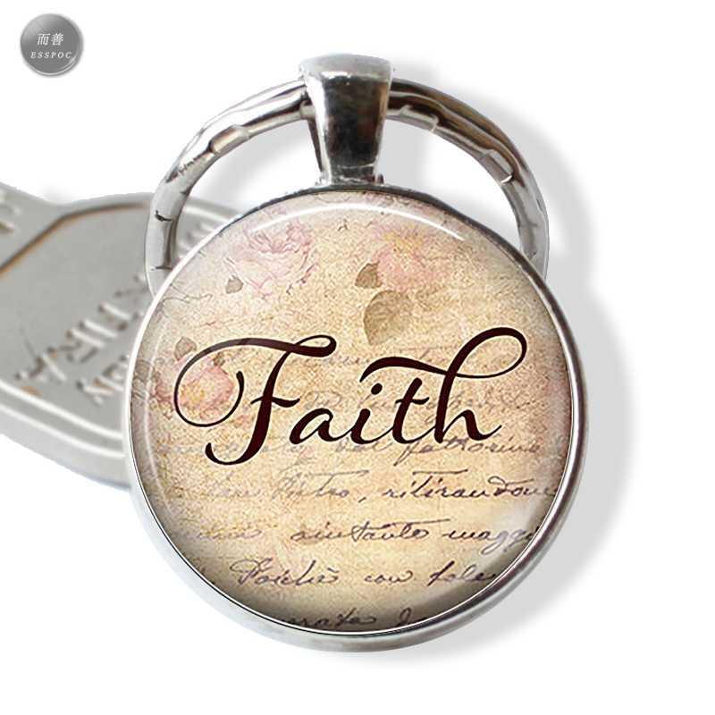 LLavero de Metal de alta calidad anillos de llavero de fe cristiana