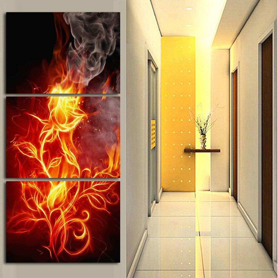 ₪Unframed Printed Fire rose Flower Group Painting children\'s room ...