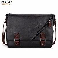 VICUNA POLO Promotional Men Messenger Bag Vintage Large Horizontal Black Satchel Bag With Double Belt Fashion