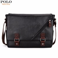 VICUNA POLO Promotional Men Messenger Bag Vintage Large Horizontal Black Satchel Bag With Double Belt Fashion