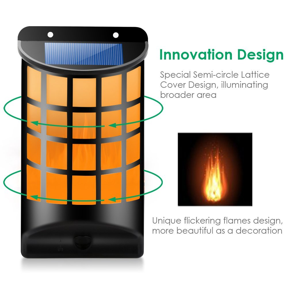 1/2/4 Pcs LED Solar Light Path Flame Light 66 LED Flickering Outdoor Waterproof Fence Garden Wall Lights ALI88
