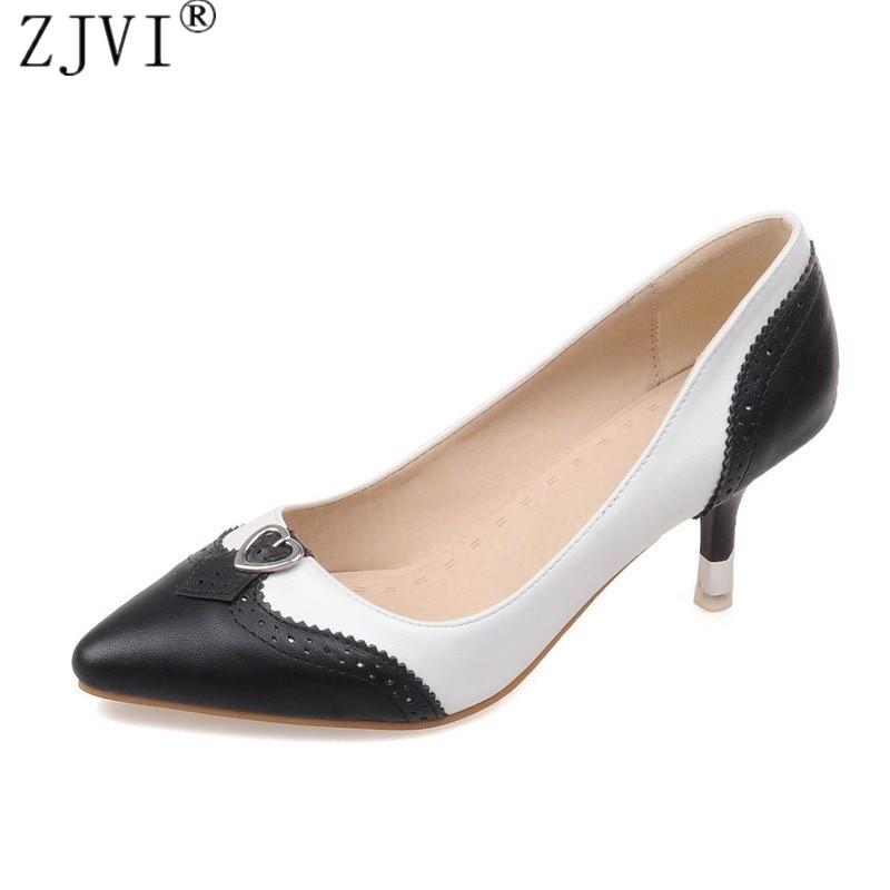 ZJVI kvinne spisset tå Tynn høye hæler pumper kvinner svart hvit - Damesko