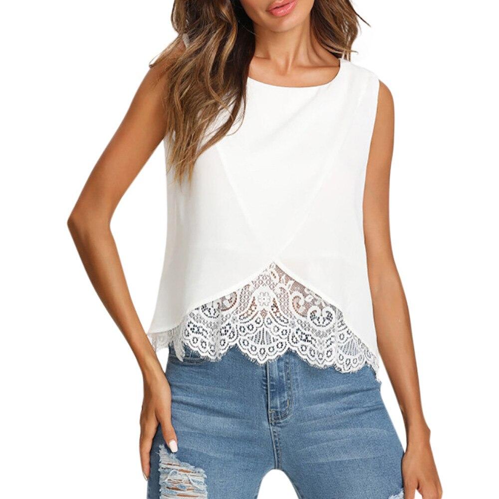 Femmes mode blouse décontractée chemise blanche sans manches col rond dentelle en mousseline de soie blouse chemise femmes blusas d'été chemises haut femme LJ & 50