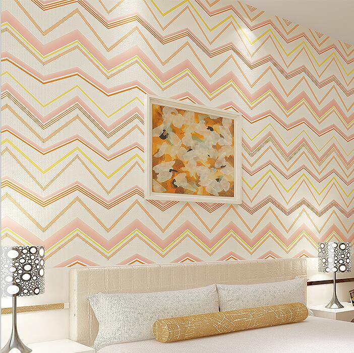 Simple wave type geometric wallpaper blue green grey for Blue patterned wallpaper bedroom