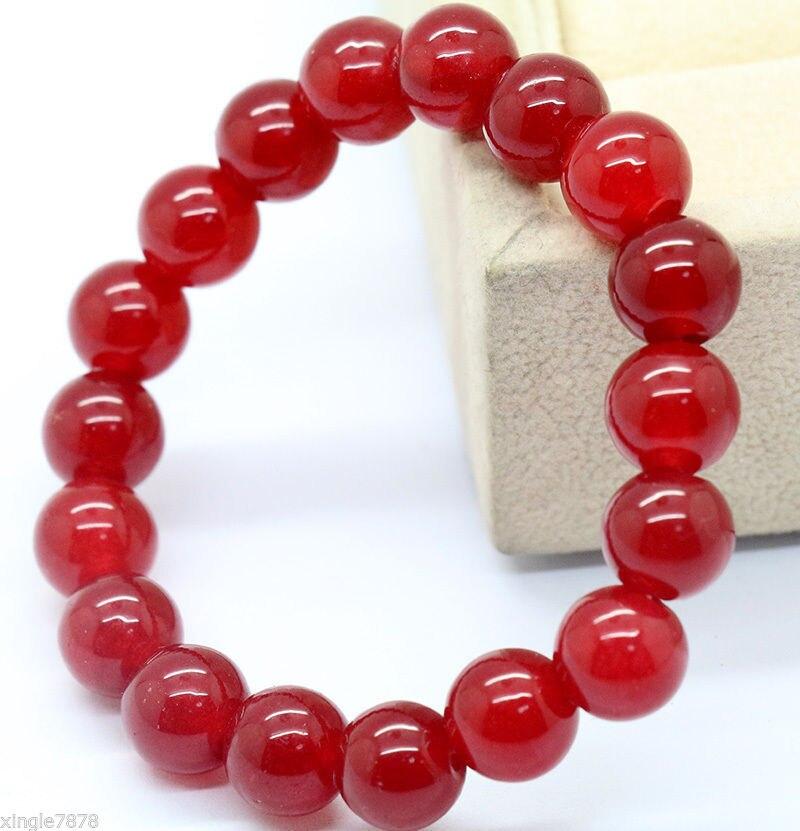 Natural 8mm Red Jadeite Round Beads Bracelet 7 5