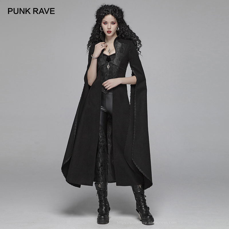 PUNK RAVE Women's Gothic Woolen Long Coat Steampunk Retro Party Club Halloween Cape Vampire Stage Costume Women   Trench   Cloak