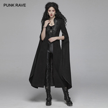 PUNK RAVE Women's Gothic Woolen Long Coat Steampunk Retro Party Club Halloween Cape Vampire Stage Co