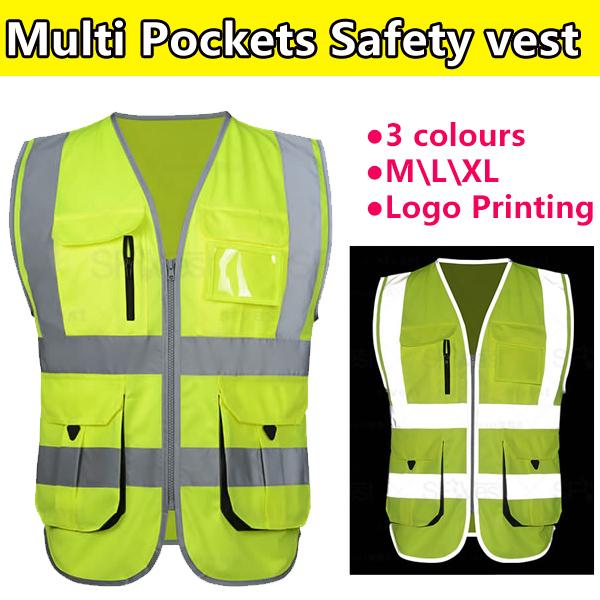 SFvest Construction Hi vis vest fluorescent yellow safety reflective vest company logo printing free shipping jiade two tone hi vis safety vest reflective