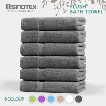 ISINOTEX 100% Egyptian Cotton Bath Towel 70x140cm 6 Colors Quick-Dry Adults Washclothes Gift Wrapping 620GSM 6packs