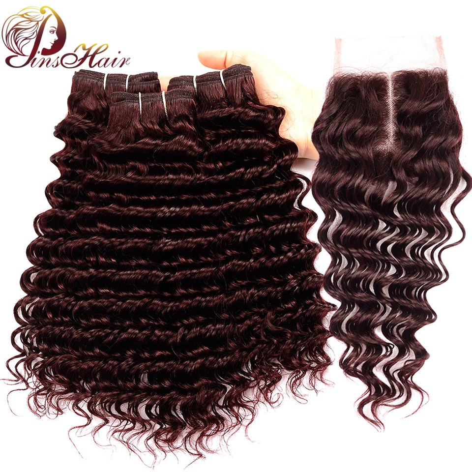 Bold Red 99J Hair Deep Wave Peruvian Hair With Closure Pinshair Thick Burgundy 100 Human Hair Bundles With Lace Closure Non Remy