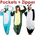 Conjuntos de Pijama adulto Onesie Dinossauro Onesies Unicórnio para As Mulheres Homens Crianças Crianças Meninas Adolescentes Meninos Panda Flanela Sleepwear Trajes