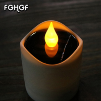 6 Pcs Home Decoration Parties Religious Votive Birthday Yellow Flicker Solar LED Tea Light Candles Flameless LED Solar Candles