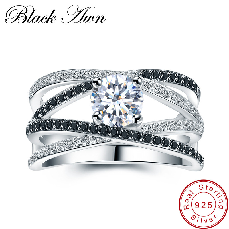 [BLACK AWN] 925 Sterling Silver Rings for Women Hollow Engagement Ring Bijoux Bague Gift Sterling Silver Jewelry C012