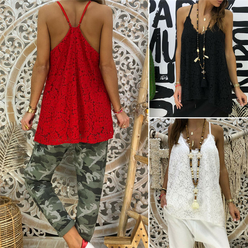 2019 New Womens Lace Print Sling Vest Top Summer Loose Cami Tank Camisole HOT