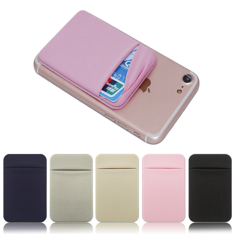 Elastic Stretch Lycra Adhesive Cell Phone ID Credit Card Holder Women Men Sticker Pocket Wallet Case Card Holder For Cell Phone