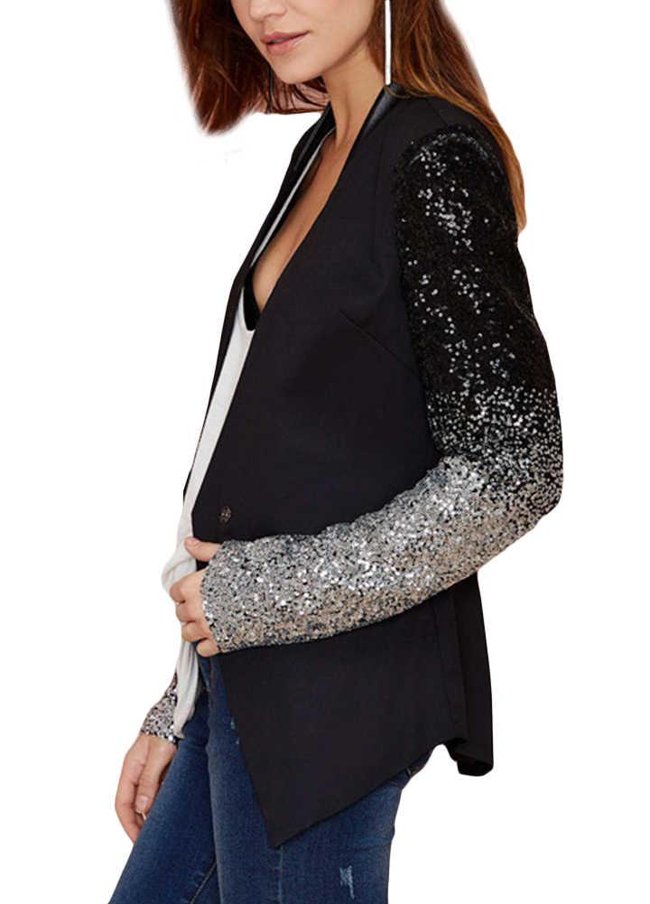 2019 Autumn Glitter Blazer Sequin Patchwork Sleeve Jacket PU Leather Slim Fit Club Jacket Coats Female Outwear Plus Size 3XL 4XL