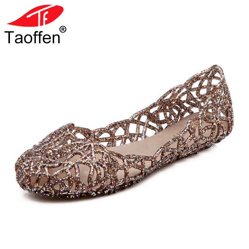 TAOFFEN Women Sandals Round Toe Hollow Out Female Summer Shoes Simple Fashion Sandals Vacation Footwear Size 36-40 fashionable women s sandals with platform and hollow out design