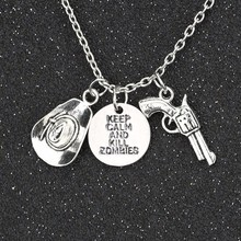 The Walking Dead Necklace Vintage Retro Keep Calm And Kill Zombies Hat Pistol Gun Antique Silver Pendant Movie Wholesale