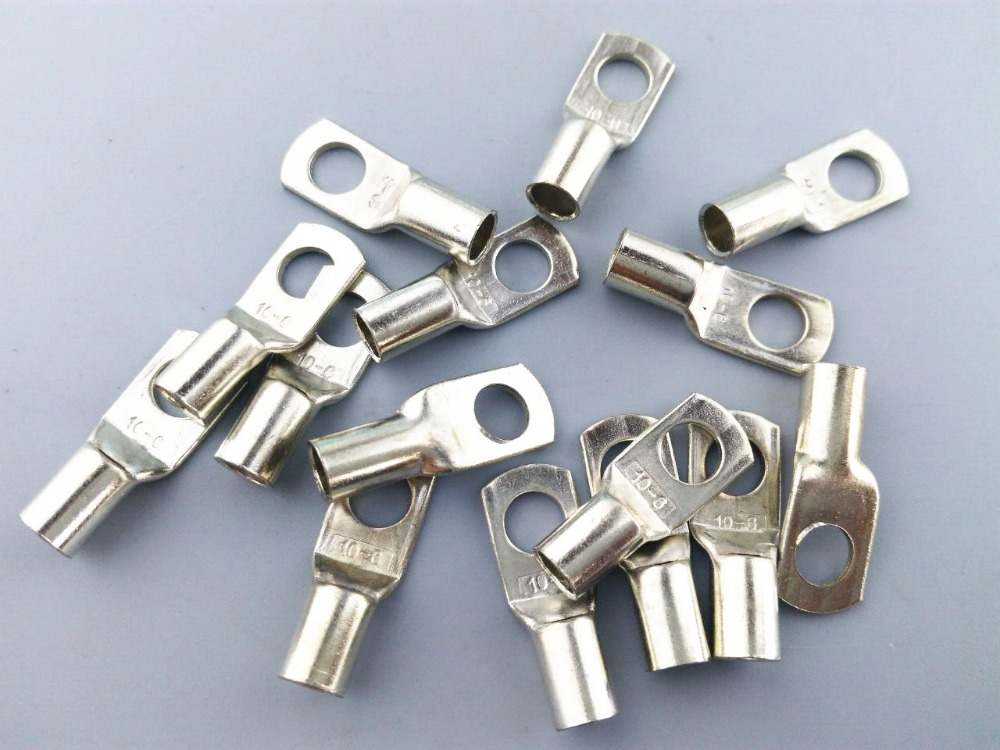 SC 10-6 Bolt Hole Tinned Copper Cable lugs Battery Terminals 10mm wire 10pcs bolt hole tinned copper cable lugs battery terminals set wire terminals connector 70mm2 2 0awg sc70 10 sc70 12