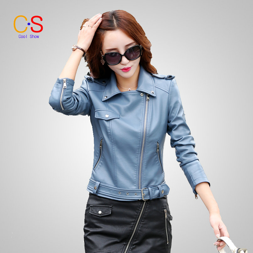 Fashion Women Leather Jacket With Buckle Hem Lady Faux Leather Coat Biker Jacket For Female Slim Fit Outerwears KL6603