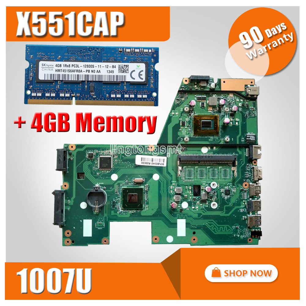 SAMXINNO For ASUS X551CA X551CAP Laptop motherboard X551CA mainboard REV2.2 1007u+4GB Memory 100% tested ytai 1007u processor for asus x200ca laptop motherboard hm70 usb3 0 rev 2 1 with 1007u 4g ram mainboard fully tested