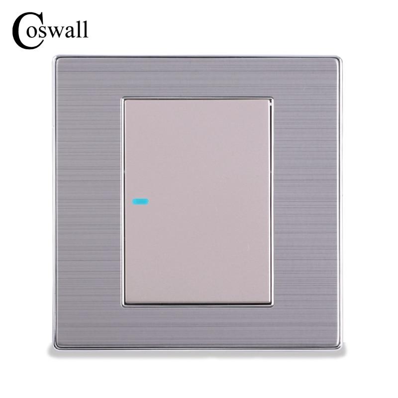 Image 2 - Coswall 1 عصابة 1 طريقة الفاخرة LED مفتاح الإضاءة على/قبالة الجدار التبديل Interruptor نحى الفضة لوحة 10A AC 110 ~ 250V1 gangpush button wallwall light panel -