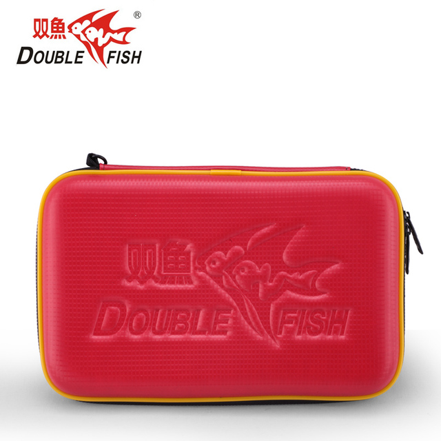 Double Fish Original Table Tennis Bag Waterproof Ping Pong Case For 2 Rackets And Ball