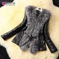 Топ Моды Специальное Предложение 2014 Женщин подражать Лисий Мех Пальто Верхняя Одежда Из Кожи Пальто Женщин Черное Пальто
