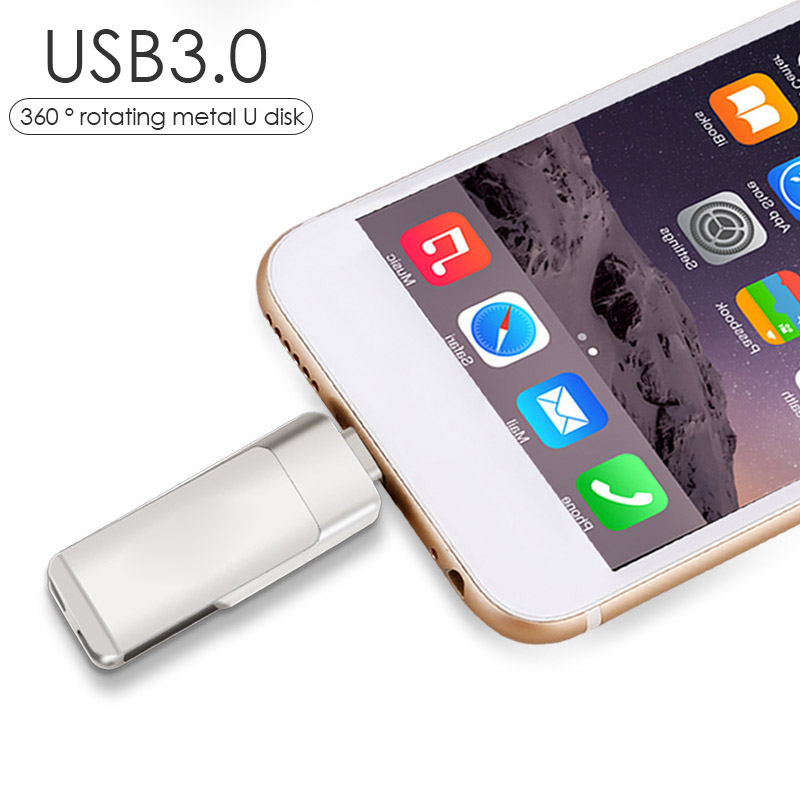 3 in 1 USB 3.0 Pen Drive OTG Lightning 64GB USB Flash Drive 32GB Pendrive 16GB For iPhone 360 Degree Rotating U Stick Memory Price $20.99