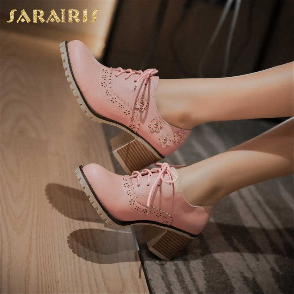 SARAIRIS 2018 Small Plus Size 32-43 Sweet Flowers Fashion Brogue Shoes Pumps Woman Leisure British Style women's Shoes Woman