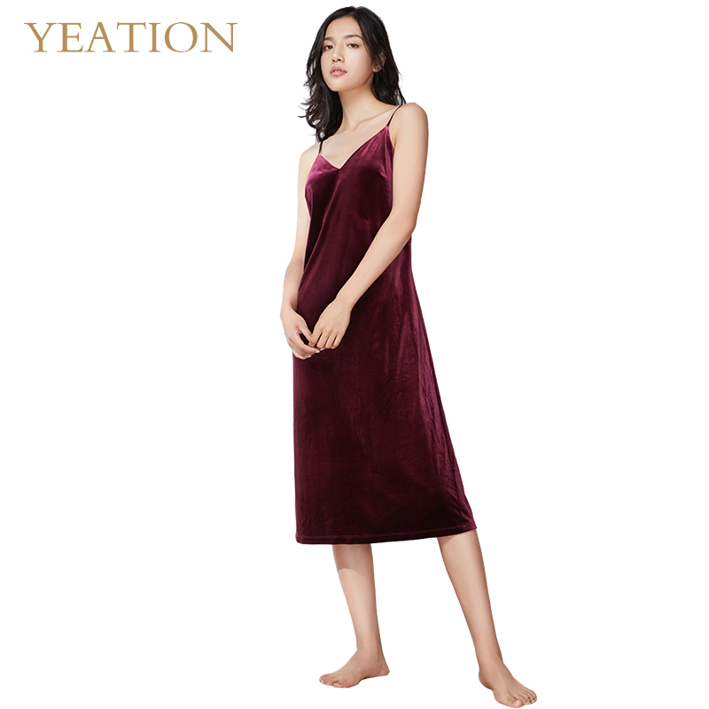 YEATION Woman Nightgowns Velvet Retro Sexy Backless Sleepshirts