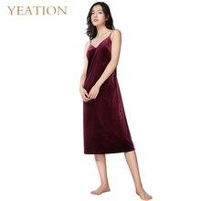 YEATION Woman Nightgowns Velvet Retro Sexy Backless Sleepshirts