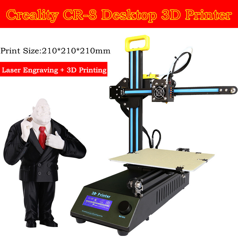 2017 Design DIY Creality CR-8 3D Printer Kit 1.75mm Filament Support Laser Engraving 3 D Print Size 210*210*210mm Free Shipping core xy structure creality 3d ender 4 auto leveling 3d printer laser head 3d printer kit filament monitoring alarm potection