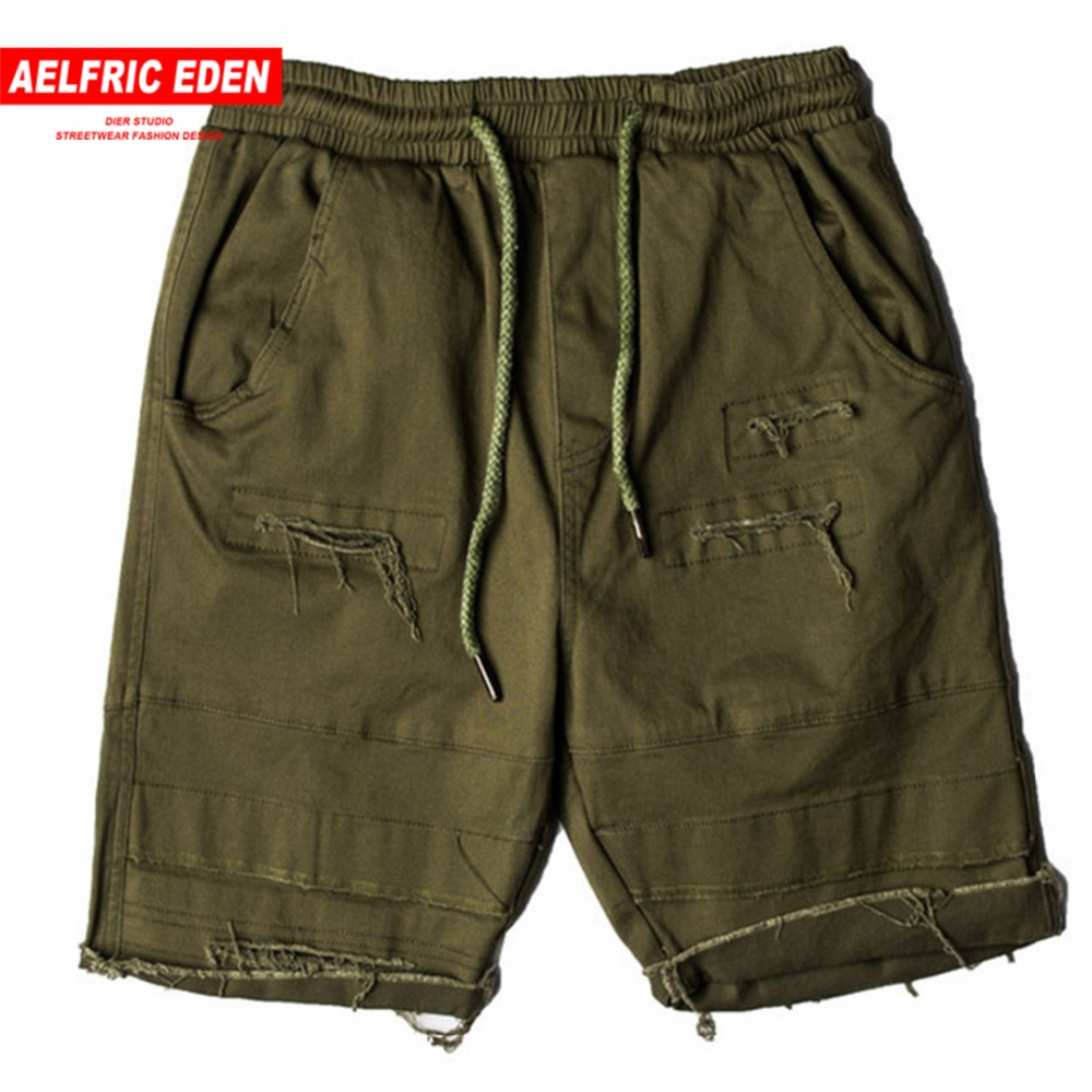 Aelfric Eden Distressed Ripped Hole Casual Shorts Men Solid Colors Hip Hop Fashion Active Streetwear Broken Cotton Shorts St13