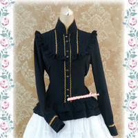 Classic Lolita Top Stand Collar The Song Of Isabel Long Sleeve Golden Trimmed Lolita Blouse By