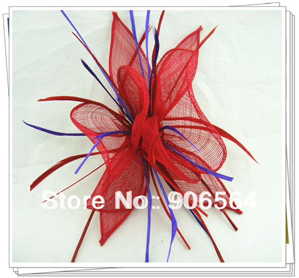 Free shipping Retail red with purple decoration hair clip sinamay fascinator hats nice wedding feather hair accessories RMSF160