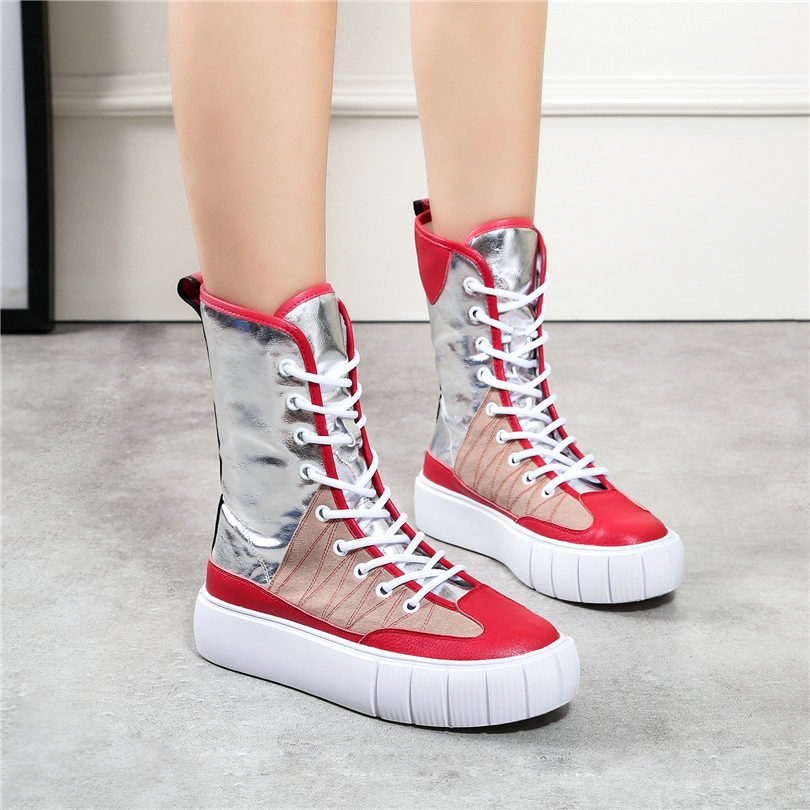 Vache Sneakers Lacets forme Femmes Oxfords Hauts Punk Chaussures Red2 En Pompes Nayiduyun À De Plate red1 Cales Mode Casual Partie Cuir Talons XBaFq