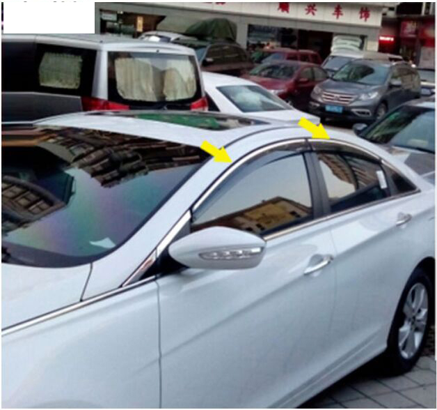 ACCESSORIES FIT FOR 2015 2016 HYUNDAI SONATA LF SIDE WINDOW RAIN DEFLECTORS GUARD VISOR WEATHERSHIELDS DOOR SHADE auto rain shield window visor car window deflector sun visor covers stickers fit for toyota noah voxy 2014 pc 4pcs set