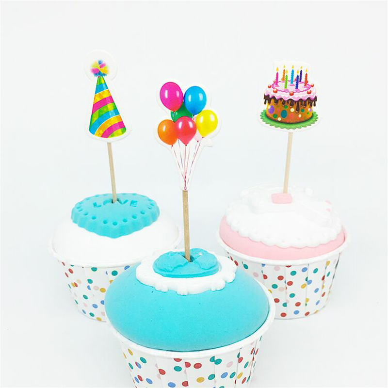 18pcs Baby Shower Cupcake Toppers Kids Favors Party Birthday Cake Card Decor