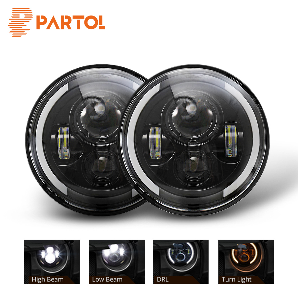 Partol 7inch Round LED Headlight Hi Low Beam DRL Halo Angle Eye For Jeep Wrangler JK