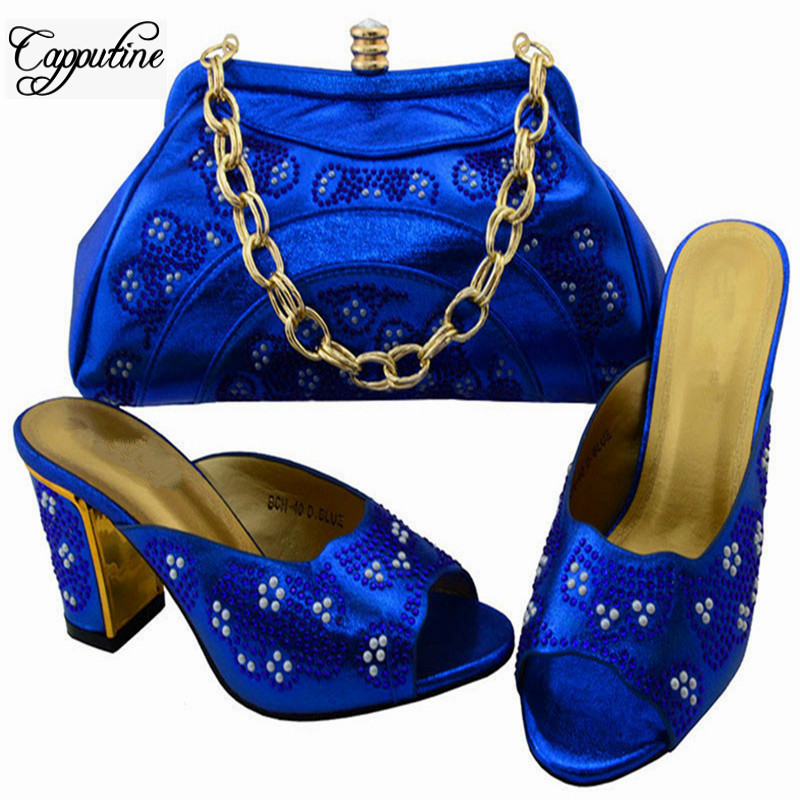 Capputine New Arrival African PU Leather Shoes And Bag Set For Parties Italian Woman Pumps Shoes And Matching Bag Set BCH-401 silver peep toe african woman pumps matching bag free shipping new italian shoes and bag set for wedding me6607