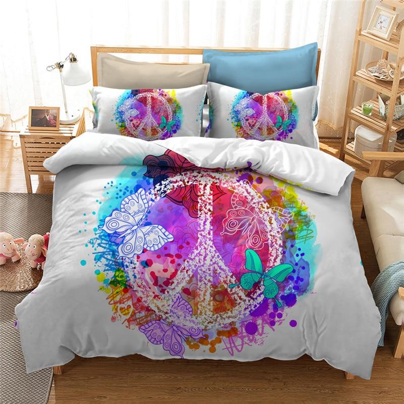 Colorful design peace sign Bedding Set Digital printing ...