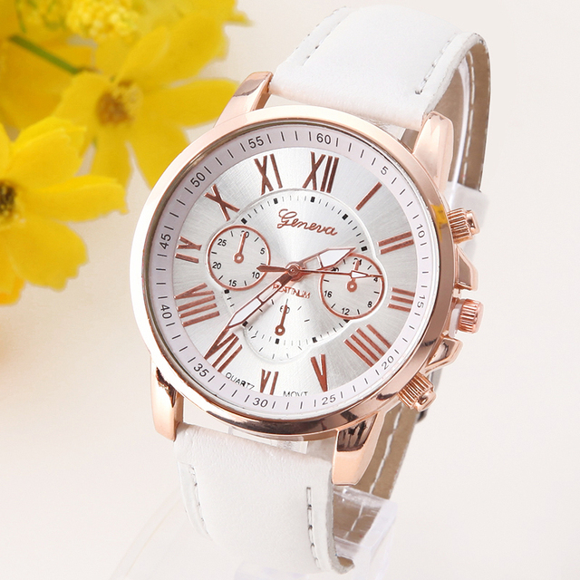 ORIGINAL Quality Geneva Platinum Watch Women Fashion Romantic Brand New PU Leath