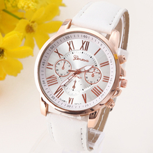 Оригинальное качество Женеве платиновые часы Для женщин Мода Романтический Фирменная Новинка искусственная кожа наручные часы платье reloj дамы золотой подарок A578